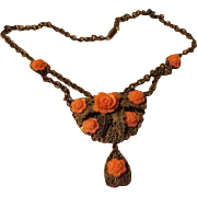Peach Roses on Filigree Necklace - Free shipping