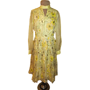 Golden Alfred Shaheen Print Dress