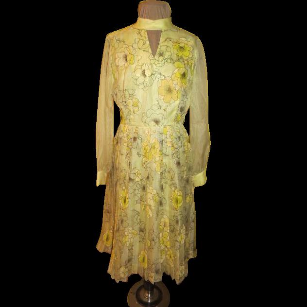 Golden Alfred Shaheen Print Dress