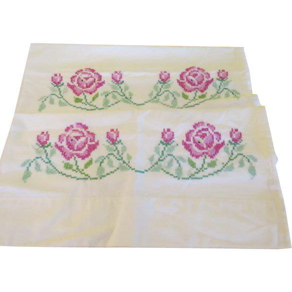 Cross Stitched Flower Pillow Cases - b221