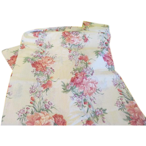 Pink Peonies on White Dotted Fabric - b221
