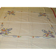Baskets of Embroidered Flowers Tablecloth - b224