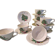 Blue Ridge Southern Pottery Christmas Tree with Mistletoe Garland Cups and Saucers -  b232