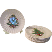 Blue Ridge Southern Pottery Christmas Tree with Garland Dinner Plates - b232