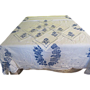 X-stitched Flower Tablecloth and Napkins - b237