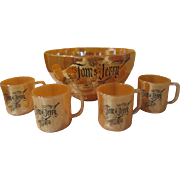 Fire King Lusterware Tom and Jerry Punch Set - b238