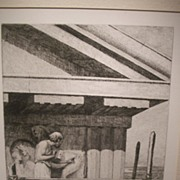 Phidias at Work on the Parthenon Etching from Original Oil by W H W Bicknell