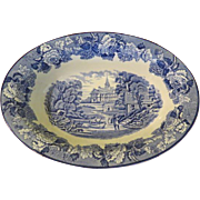 Wood & Sons English Scenery  Blue 10'' Oval Vegetable Bowl - b214