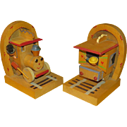 Toy Time Wood Train Bookends - b224