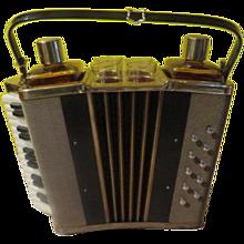 Mid-century Accordion Bar Decanter Caddy with Music Box - b244