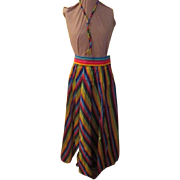 Taffeta Striped Multi-color Skirt with Bolo Tie