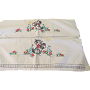 Kittens and Butterflies Embroidered Pillow Cases - b248