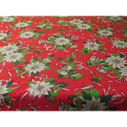 Poinsettia and Bells Christmas Tablecloth - b247