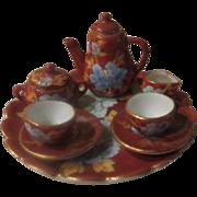 Tiny Dollhouse Tea for 2 Tea set on Tray