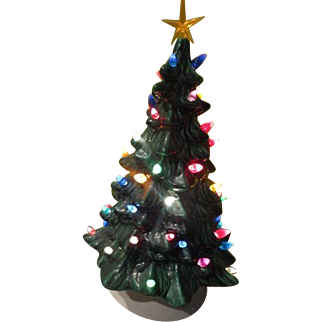 Green Ceramic Lighted Christmas Tree - b255