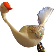 Silvery Wings Spun Glass Tail Glass Bird Christmas Tree Ornament - BB