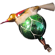 Bird with Spun Glass Tail on Cloud on Glass Christmas tree Ornament. - bb