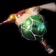 Bird with Spun Glass Tail on Cloud on Glass Christmas tree Ornament. - bb