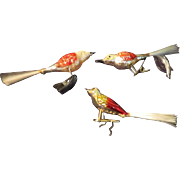 Red Wing Glass Birds with Spun Glass tails Christmas Tree Ornaments - bb