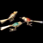 Colorful Birds Spun Glass Tails Christmas Tree Ornaments - bb