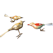 Spun Glass Tail Bird Christmas Tree Ornaments - bb