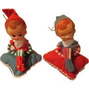 Elves on Pillow Christmas Tree Ornaments - X-17