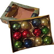 A Dozen Feather Tree Glass Ornaments in Box - X-17-l