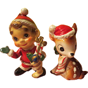 Elf and Reindeer Christmas Figures - X-17