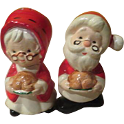 Mrs and Santa Clause Salt and Pepper Shakers  - b246