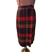 Winter Wool Plaid Pleated Wrap Skirt