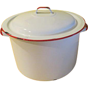 Mmmm, Mmmm Good White Enamel Soup Pot with Lid - g