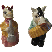 Accordion and Sax Playing Horses Salt and pepper Shakers - b245