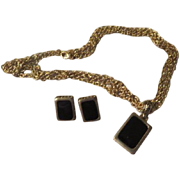 Black Rectangles Necklace and earrings - Free shipping