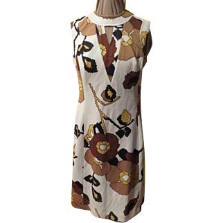 Keyhole Brown Print Skimmer Dress