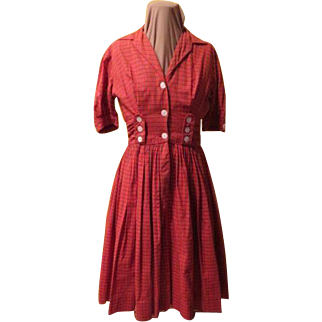 "Button Front ''Candy Jones"" Red Plaid Shirtwaist"