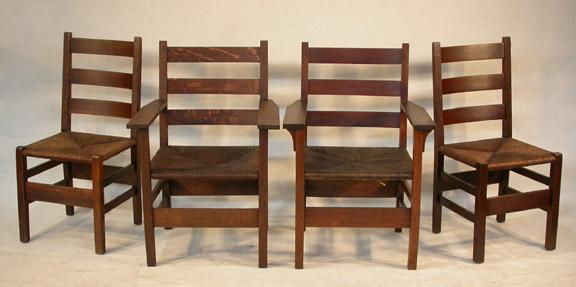 4 Signed Gustav Stickley Mission/Arts & Crafts Chairs