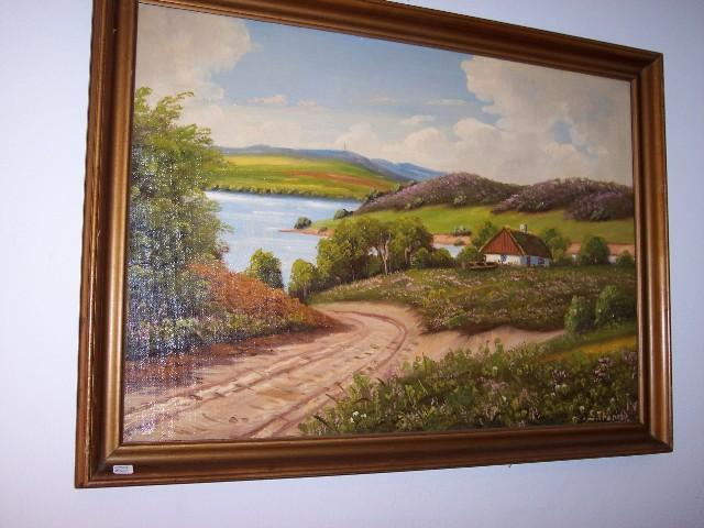 Oil on Canvas Lake front Cottage with Meadows and  Boat