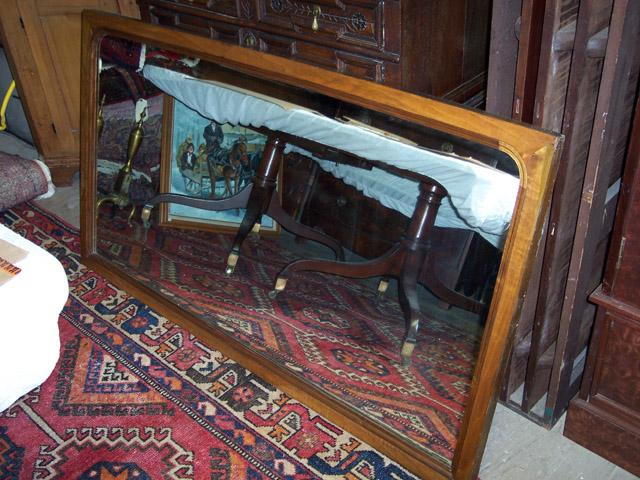 Large Walnut Framed Beveled Mirror