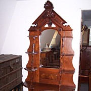 Victorian American Walnut What-Not Display Cabinet Ca. 1875