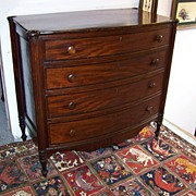 American Sheraton Mahogany Bow-Front Chest of Drawers Ca. 1810