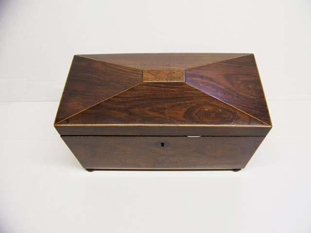 Rosewood Sarcophagus Tea Caddy Ca, 1830