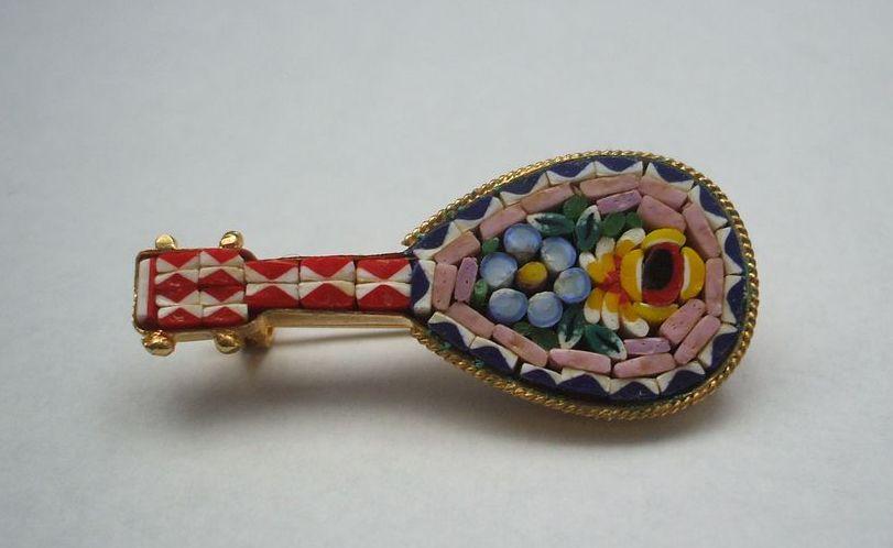 Micro Mosaic Italy Pin Mandolin