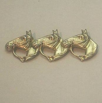 Sterling Triple Horse Head Pin Early C Clasp