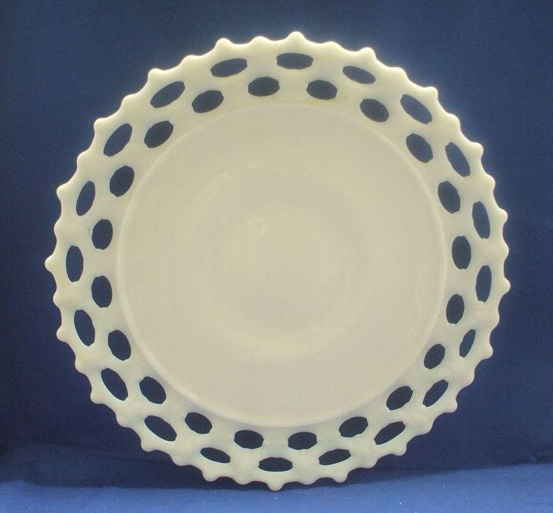 "Westmoreland Doric Lace Edge Milk Glass 11"" Sandwich Plate"