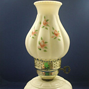 White Milk Glass Melon Electric Hurricane Lamp Hand Painted Pink Roses