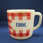 Eddie Red Check Gingham Plaid Milk Glass Mug Westfield Federal