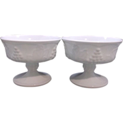 Indiana Milk Glass Harvest Grape Sherbets Set of Three