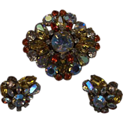 Schreiner Amber Orange Aurora Borealis Rhinestone Pin & Earrings Set