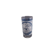Currier & Ives Blue Glass Tumbler Royal China Anchor Hocking