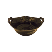 Mt Pleasant Black Glass Double Handle Bowl Silver Floral Overlay